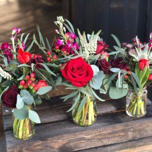 Valentines Jam Jar Flowers